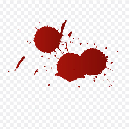Realistic blood splatters and blood drops vector set. Splash red ink. vector illustration isolated on transparent background