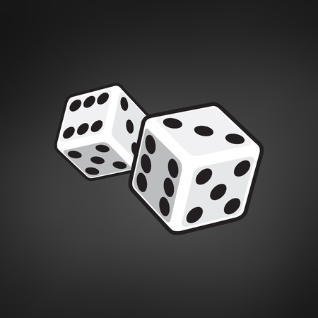 Two white dices isolated on black background. vector illustration Çizim