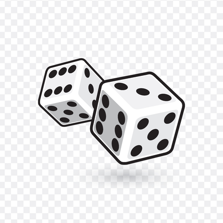Two white dices isolated on transparent background. vector illustration