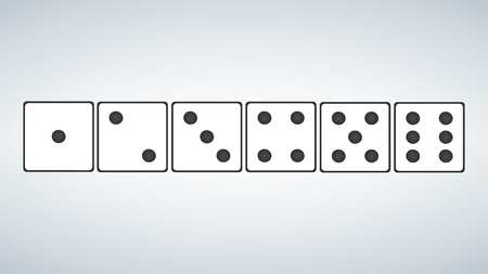 set of white dices isolated on grey background. vector illustration