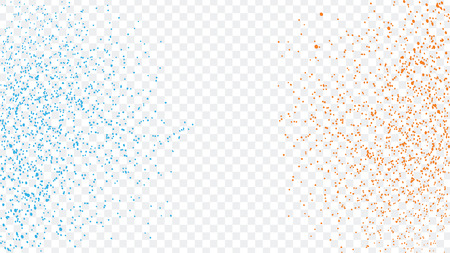 Blue and orange glitter powder particles splash vector illustration isolated on transparent background. Blue scattered dust. Magic mist glowing Ilustrace