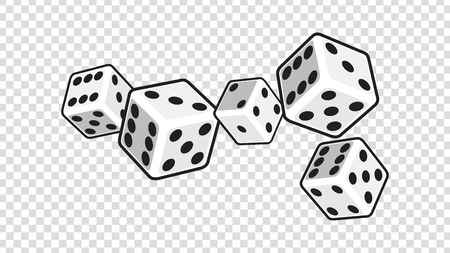 five white dices isolated on transparent background. vector illustration  イラスト・ベクター素材