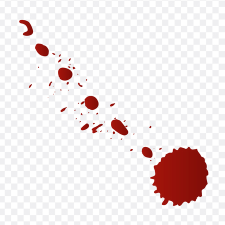 Realistic blood splatters and blood drops vector set. Splash red ink. vector illustration isolated on transparent background 写真素材 - 127711348