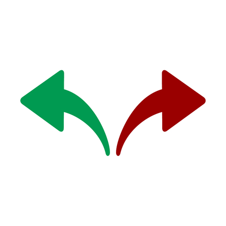 Red, Green Left and Right Arrows. Opposite Directions, Divergence, Forward, Backward. vector illustration isolated on white background
