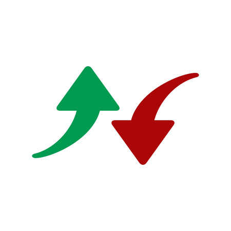 Red and green arrows icon. Vector illustration isolated on white background. Symbols of moving up and down. Crisis and success concept  イラスト・ベクター素材