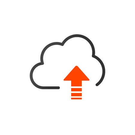 Upload vector icon, cloud storage symbol. Modern, simple flat icon for web site or mobile app. vector illustration isolated on white background  イラスト・ベクター素材