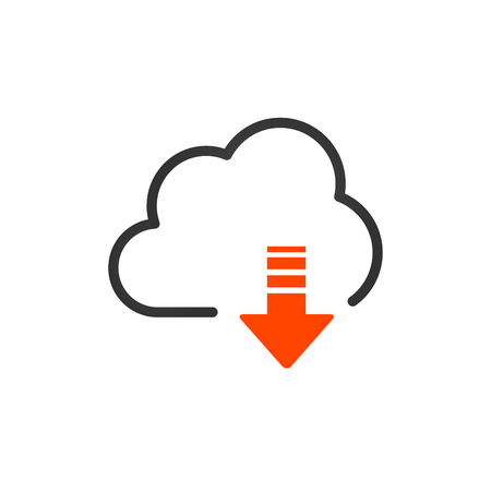 Cloud download linear icon with editable stroke. vector illustration isolated on white background