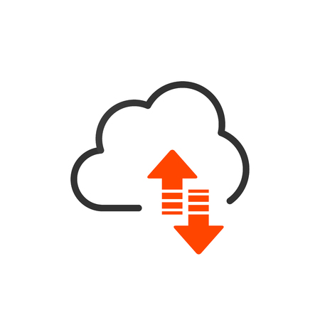 Cloud upload and download or sync linear icon with editable stroke. vector illustration isolated on white background  イラスト・ベクター素材
