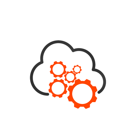 Cloud storage settings linear icon. Web hosting preferences. Cloud computing with cogwheels contour symbol. Vector illustration isolated on white background