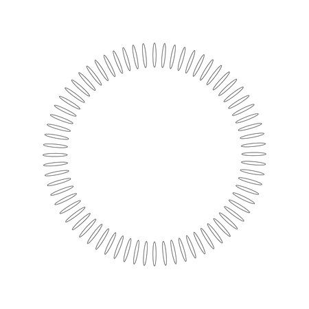 Elemento geometrico del cerchio fatto di forme radianti. Forma astratta del cerchio. illustrazione vettoriale isolato su sfondo bianco