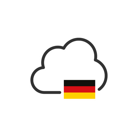 Germany Cloud Domain Server or storage. VPN concept. Germany flag Ilustrace