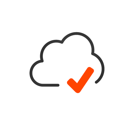 Cloud upload and download or sync linear icon with editable stroke. vector illustration isolated on white background Illustration