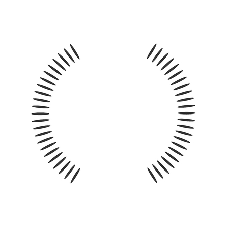 Geometric circle element made of radiating shapes. Abstract circle shape two half. vector illustration isolated on white background Vettoriali