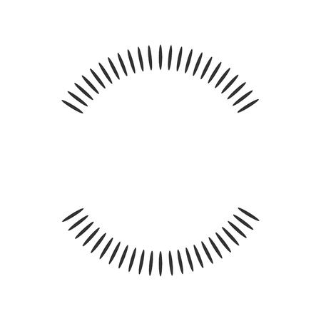 Elemento geometrico del cerchio fatto di forme radianti. Forma astratta del cerchio due metà. illustrazione vettoriale isolato su sfondo bianco