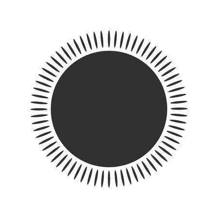 Sole geometrico con raggi, elemento circolare costituito da forme radianti. Forma astratta del cerchio. illustrazione vettoriale isolato su sfondo bianco