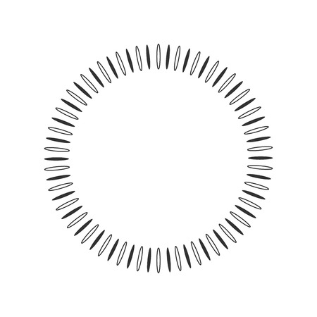 Geometric sun with rays in circle element made of radiating shapes. Abstract circle shape. vector illustration isolated on white background. suitable for logo, product branding etc
