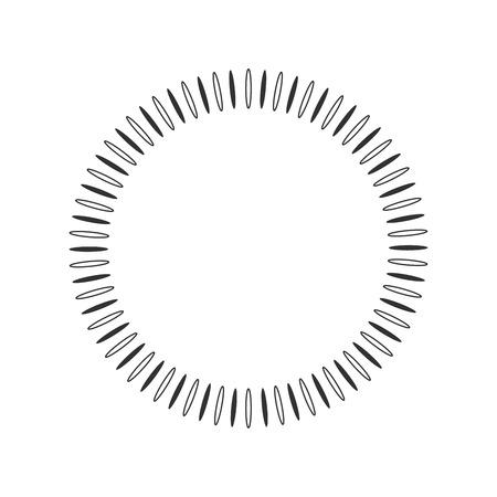 Sole geometrico con raggi in elemento circolare costituito da forme radianti. Forma astratta del cerchio. illustrazione vettoriale isolato su sfondo bianco. adatto per logo, marchio del prodotto ecc