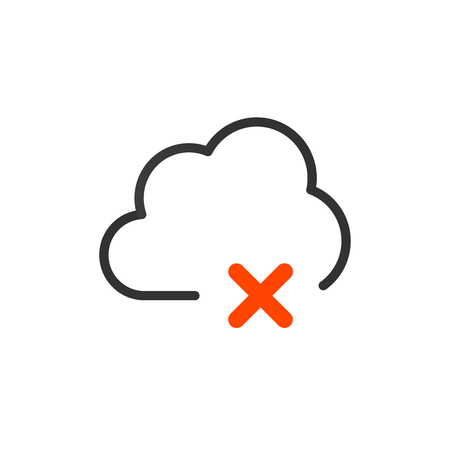 icon cloud icon with cross or delete sign. vector illustration  イラスト・ベクター素材