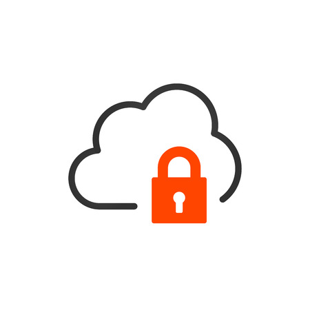 Linear cloud icon with lock. encrypted Data, vpn concept. vector illustration isolated on white background