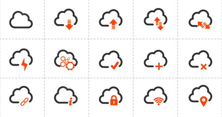 Computer cloud related line icons. Vector icon set. vector illustration isolated on white background