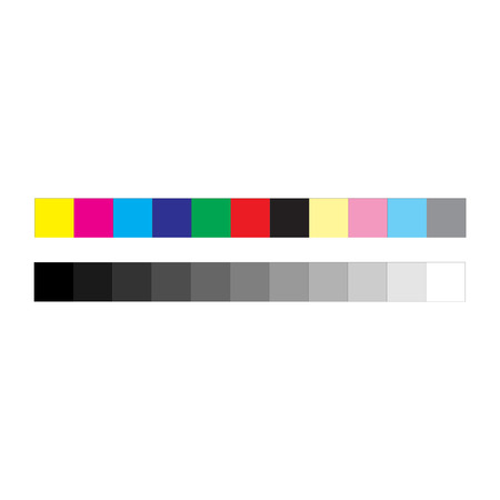 CMYK press marks color and greyscale bar, vector illustration isolated on white background