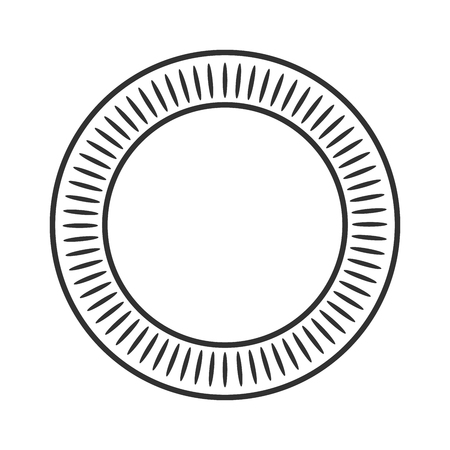 Geometric sun with rays, circle element made of radiating shapes. Abstract circle shape. vector illustration isolated on white background