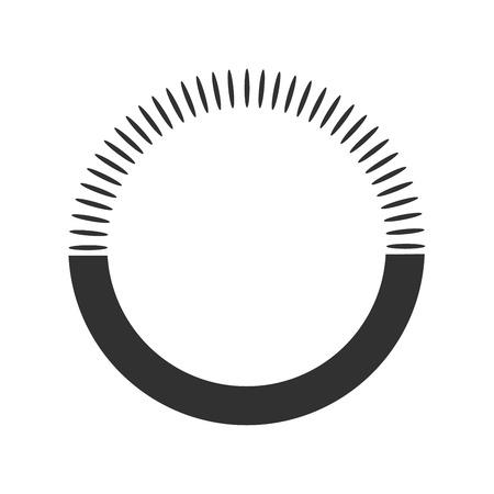 Sole geometrico con raggi, elemento circolare composto da forme radianti in alto e fondo piatto. Forma astratta del cerchio. illustrazione vettoriale isolato su sfondo bianco
