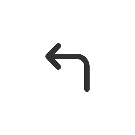 turn left arrow icon, black vector illustration isolated on white background 일러스트