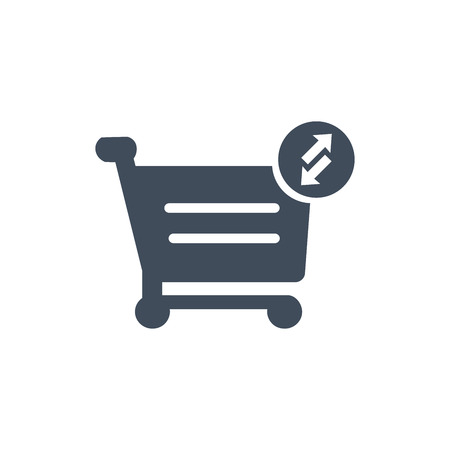 Shopping cart icon. Put in and out cart online shopping icon with arrows. Vector illustration isolated on white background