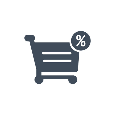 Percentage symbol in shopping cart icon, vector illustration isolated on white background