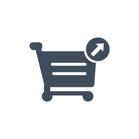 Shopping cart icon. Put out cart online shopping icon with arrows. Vector illustration isolated on white background
