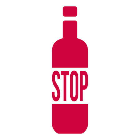 Stop Alcohol Sign with Bottle. Vector Illustration isolated on white background  イラスト・ベクター素材