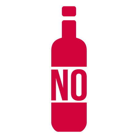 No Alcohol Sign with Bottle, Vector Illustration isolated on white background