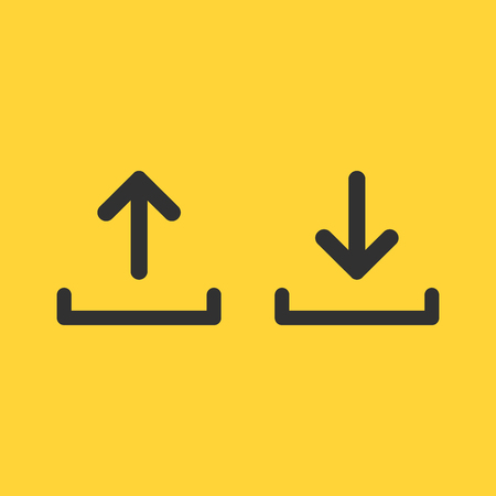 upload and download icon set, simple linear desighn for websites, apps, UI, presentations. Arrow up and down. Vector illustration isolated on yellow background