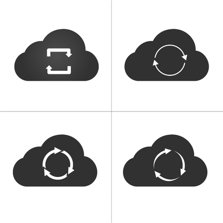 Cloud sync icon set, circle arrows. vector illustration isolated on white background
