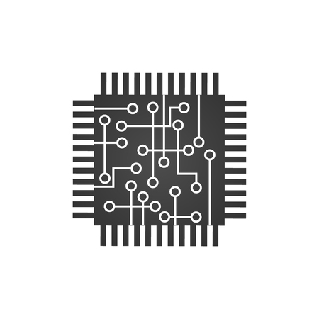 CPU central processing unit, Computer chip or microchip icon. vector illustration isolated on white background
