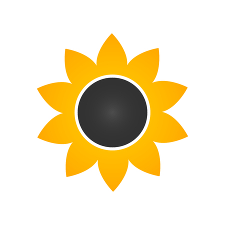 Sunflower icon in flat style Vector Illustration isolated on white background