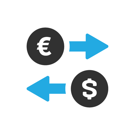 Money exchange icon in trendy flat style isolated on white background. Euro and dollar symbols with blue arrows. Vector illustration  イラスト・ベクター素材