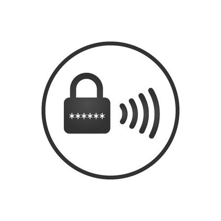 Wireless lock icon, smart lock security system. Vector illustration isolated on white background