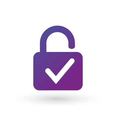 Lock and check mark icon isolated on white background. Security check lock sign. Vector Illustration.