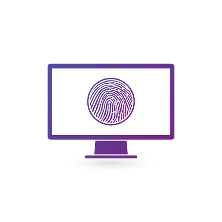 Fingerprint Recognition on computer monitor, security data concept.vector illustration isolatred on white background 矢量图像