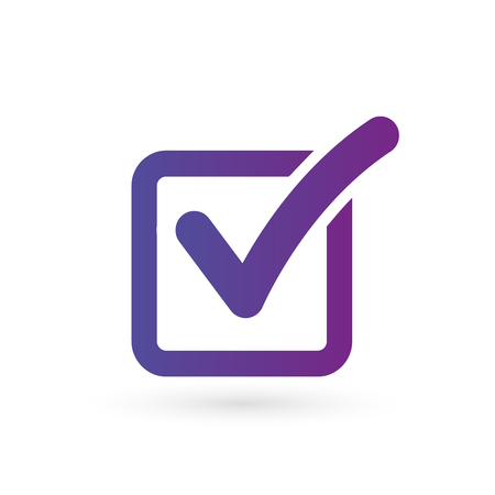 Illustration de l'icône de coche dans le carré en dégradé violet, illustration vectorielle isolée sur fond noir Vecteurs