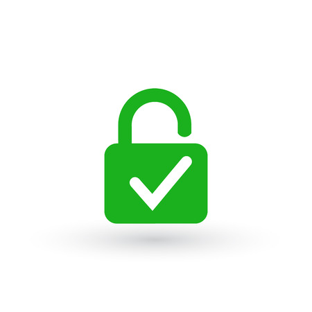 Lock and check mark icon isolated on white background. Security check lock sign. Vector Illustration