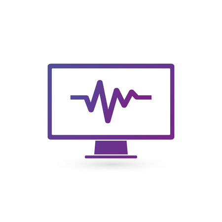 Pulse monitoring icon on white background. Analizing computer, meintance, checking health. Vector illustration isolated on white background. clean design