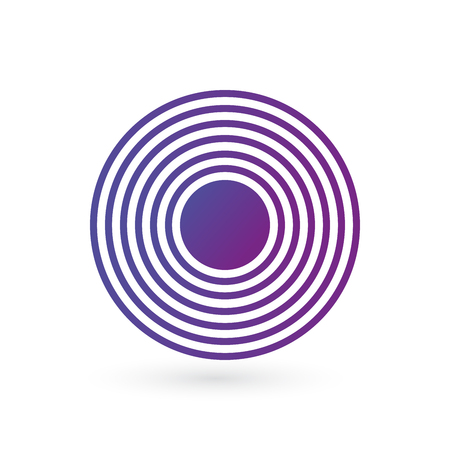 Purple gradient Rings sound or waves in circle. Tap symbol. Radio signal background. Vector illustration isolated on white