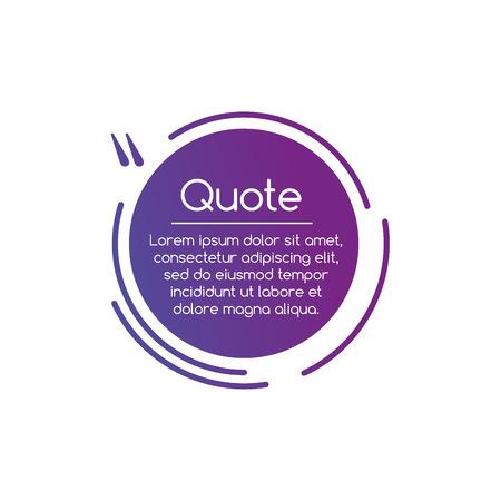 Ilustración de discurso de comillas de línea de círculo de Vector púrpura. Signo de cotización. Ilustración vectorial aislado en blanco
