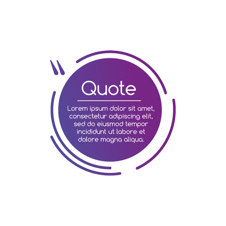 Purple Vector circle line Quotation Mark Speech illustration. Quote sign. Vector illustration isolated on white