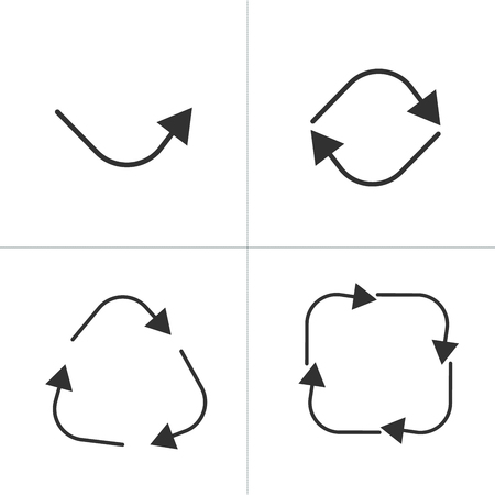 set of black circle square arrows, one two three and four arrows. vector illustration isolated on white