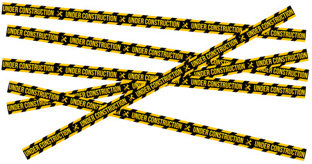 Under construction website page with black and yellow striped borders vector illustration. Border stripe web, warning banner. vector illustration isolated on white Illustration