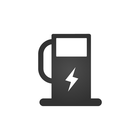 Charging station for electric car icon Vector Illustration. Charging station with electricity sign, lightning